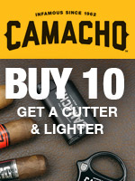 Free cutter and lighter with 10 Camacho cigars