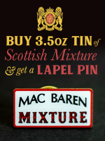 Free lapel pin when you buy a 100g tin of Scottish Mixture