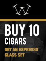 Free Espresso Glass with purchase of 10 Warped Cigars