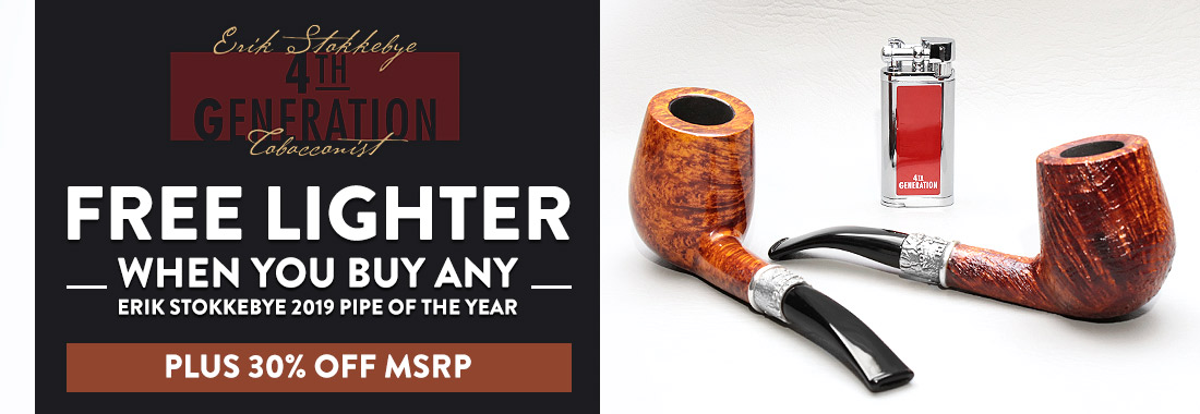 Free Pipe Lighter With Purchase of Any Erik Stokkebye 4th Generation 2019 Pipe of the Year