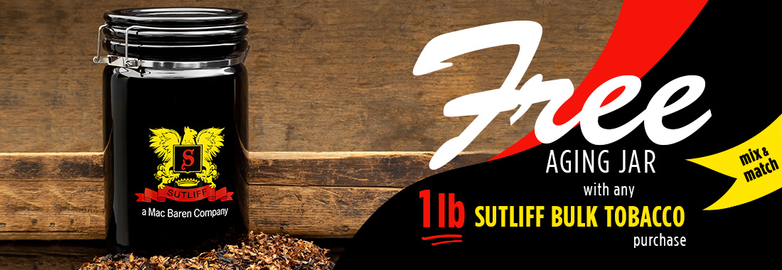 Free Aging Jar With The Purchase Of 1lb. Of Sutliff Bulk Tobacco